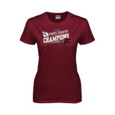 Ladies Maroon T Shirt-2014 Mens Cross Country Champions Rise