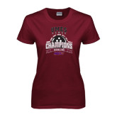 Ladies Maroon T Shirt-MEAC Bowling Champions Multi-year
