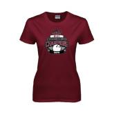 Ladies Maroon T Shirt-2015 MEAC Bowling Champions