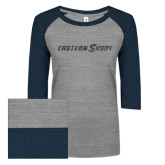 ENZA Ladies Athletic Heather/Navy Vintage Triblend Baseball Tee-Eastern Shore Glitter