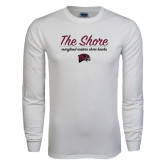 White Long Sleeve T Shirt-The Shore Script