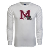 White Long Sleeve T Shirt-M w/ Hawk