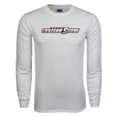 White Long Sleeve T Shirt-Primary Mark Distressed