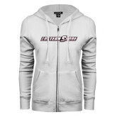 ENZA Ladies White Fleece Full Zip Hoodie-Eastern Shore