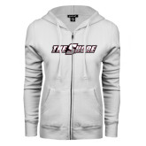 ENZA Ladies White Fleece Full Zip Hoodie-The Shore