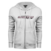 ENZA Ladies White Fleece Full Zip Hoodie-Maryland Eastern Shore Hawks