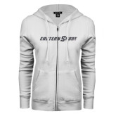 ENZA Ladies White Fleece Full Zip Hoodie-Eastern Shore Glitter