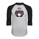 White/Black Raglan Baseball T-Shirt-2015 MEAC Bowling Champions