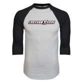White/Black Raglan Baseball T-Shirt-Eastern Shore