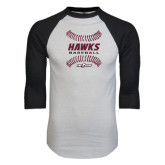 White/Black Raglan Baseball T-Shirt-Baseball Ball Design