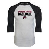 White/Black Raglan Baseball T-Shirt-Baseball Stacked