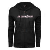 ENZA Ladies Black Fleece Full Zip Hoodie-Eastern Shore