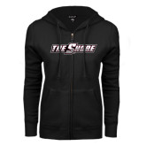 ENZA Ladies Black Fleece Full Zip Hoodie-The Shore