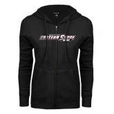 ENZA Ladies Black Fleece Full Zip Hoodie-Maryland Eastern Shore Hawks