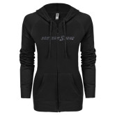 ENZA Ladies Black Light Weight Fleece Full Zip Hoodie-Eastern Shore Glitter