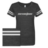 ENZA Ladies Black/White Vintage Triblend Football Tee-Eastern Shore Glitter