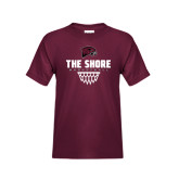 Youth Maroon T Shirt-Basketball Net Design