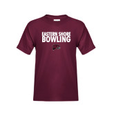 Youth Maroon T Shirt-Bowling Stacked