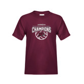 Youth Maroon T Shirt-MEAC Volleyball Champions 2016