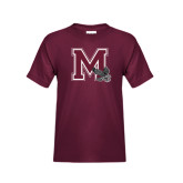 Youth Maroon T Shirt-M w/ Hawk