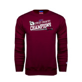 Maroon Fleece Crew-2014 Mens Cross Country Champions Rise