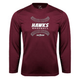 Performance Maroon Longsleeve Shirt-Baseball Ball Design