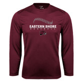 Performance Maroon Longsleeve Shirt-Baseball Seams Stacked Design