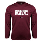 Performance Maroon Longsleeve Shirt-Baseball Stacked