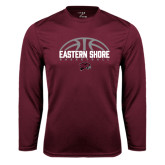 Performance Maroon Longsleeve Shirt-Basketball Half Ball Design Half Ball Design