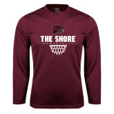 Performance Maroon Longsleeve Shirt-Basketball Net Design