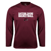 Performance Maroon Longsleeve Shirt-Basketball Stacked
