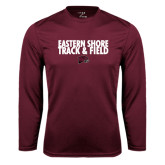 Performance Maroon Longsleeve Shirt-Track and Field Stacked
