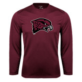 Performance Maroon Longsleeve Shirt-Hawk Head