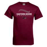 Maroon T Shirt-Baseball Seams Stacked Design