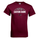 Maroon T Shirt-Basketball Half Ball Design Half Ball Design