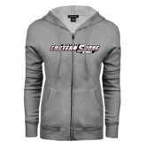 ENZA Ladies Grey Fleece Full Zip Hoodie-Maryland Eastern Shore Hawks