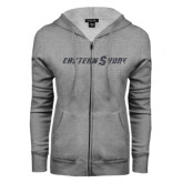 ENZA Ladies Grey Fleece Full Zip Hoodie-Eastern Shore Glitter