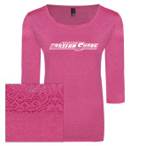 Ladies Dark Fuchsia Heather Tri Blend Lace 3/4 Sleeve Tee-Primary Mark