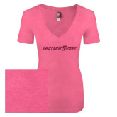 Next Level Ladies Vintage Pink Tri Blend V-Neck Tee-Eastern Shore Glitter