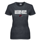Ladies Dark Heather T Shirt-Basketball Stacked