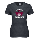 Ladies Dark Heather T Shirt-Bowling Pins Design