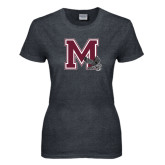 Ladies Dark Heather T Shirt-M w/ Hawk
