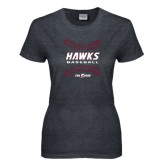 Ladies Dark Heather T Shirt-Baseball Ball Design
