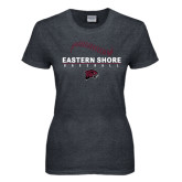 Ladies Dark Heather T Shirt-Baseball Seams Stacked Design