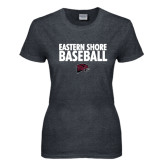 Ladies Dark Heather T Shirt-Baseball Stacked