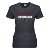 Ladies Dark Heather T Shirt-Basketball Half Ball Design