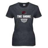 Ladies Dark Heather T Shirt-Basketball Net Design