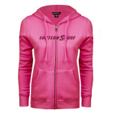 ENZA Ladies Fuchsia Fleece Full Zip Hoodie-Eastern Shore Glitter