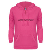 ENZA Ladies Hot Pink V Notch Raw Edge Fleece Hoodie-Eastern Shore Glitter