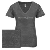 ENZA Ladies Graphite Melange V Neck Tee-Eastern Shore Glitter
